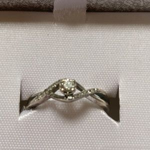 Sterling Silver 1/16th CTTW Diamond Engagement Rin